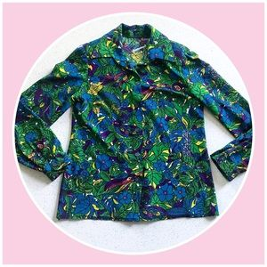Vintage mod 1960's peacock paisley button down top